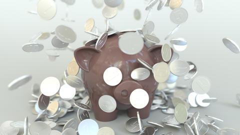 Coins fall on piggy bank. Conceptual 3D animation Archivo