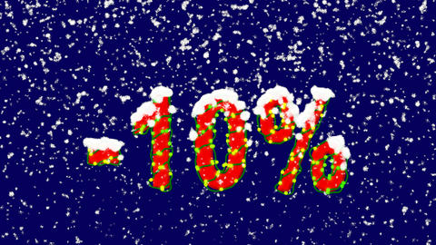 New Year text sale label -10%. Snow falls. Christmas mood, looped video. Alpha Animation