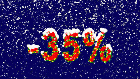 New Year text sale label -35%. Snow falls. Christmas mood, looped video. Alpha Animation