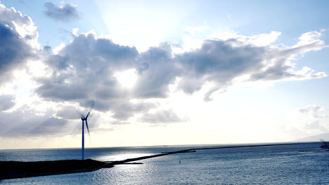 clean recycle energy from the wind mill or turbines or farms of Japan Live Action