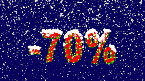 New Year text sale label -70%. Snow falls. Christmas mood, looped video. Alpha Animation