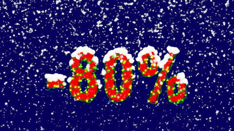 New Year text sale label -80%. Snow falls. Christmas mood, looped video. Alpha Animation