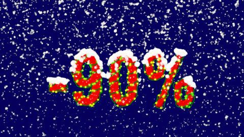 New Year text sale label -90%. Snow falls. Christmas mood, looped video. Alpha Animation