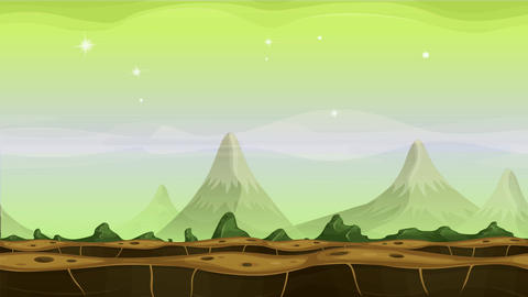 Fantasy Alien Mountains Background Loop Animation