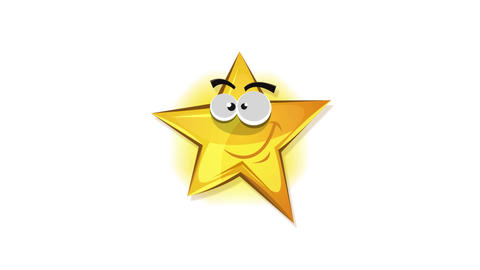 Funny Cartoon Star Icon Character Jumping Animation