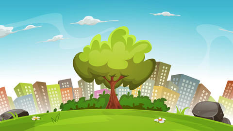 Spring City Landscape Background Loop Animation