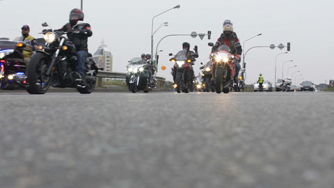 Bikers hold moto racing on city roads, rally in support of peaceful protest Live Action
