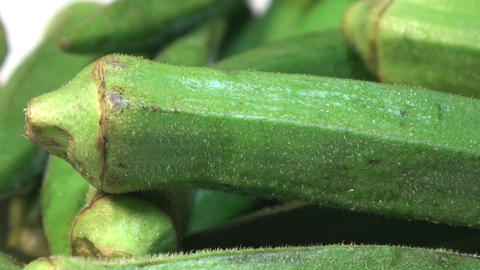 Okra also known as Ladies Finger Footage