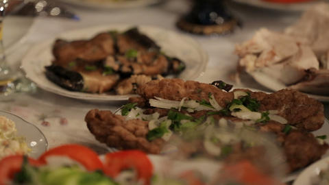 Table full of delicious treats and delicacy, traditional Georgian cuisine Live Action