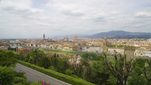 Amazing landscape of Florence city, Arno river and Apennine mountains, tourism Footage
