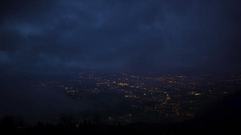 Night view of beautiful illuminated Camposampiero town in the province of Padua Footage