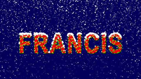 New Year text Person of the World Politics FRANCIS. Snow falls. Christmas mood, Animation
