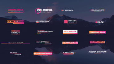 Colorful Titles & Lower Thirds After Effects Template