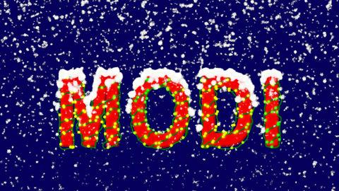 New Year text Person of the World Politics MODI. Snow falls. Christmas mood, Animation
