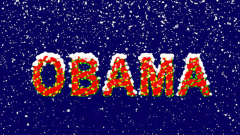 New Year text Person of the World Politics OBAMA. Snow falls. Christmas mood, Animation