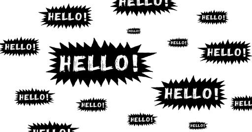Hello Speech Bubble Scribble Animation Doodle Stock Video Footage