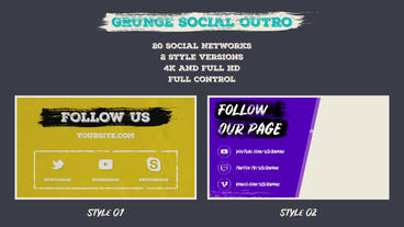 Grunge Social Outro Motion Graphics Template