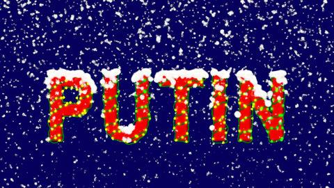 New Year text Person of the World Politics PUTIN. Snow falls. Christmas mood, Animation