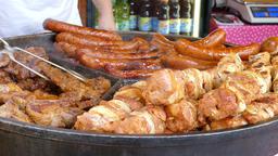 Food market. Street food. Fast food. Chronic diseases Footage