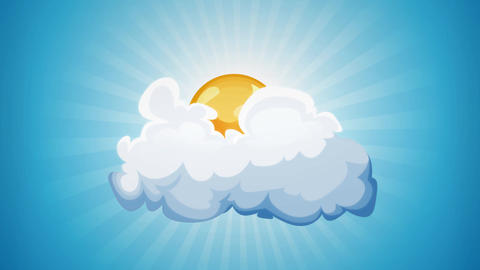 Cartoon Sun And Cloud Loop Animation