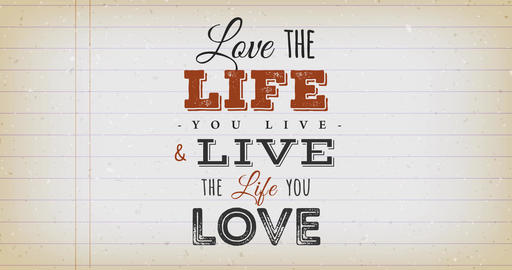 Love The Life You Live Quote Vintage Animation Animation