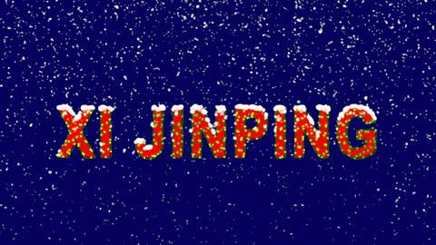 New Year text Person of the World Politics XI JINPING. Snow falls. Christmas Animation