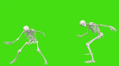 Skeleton dancing. Seamless loop animation on green screen Videos animados