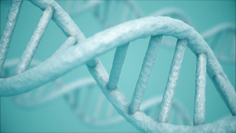 Rotating closeup DNA molecule on blue background 애니메이션