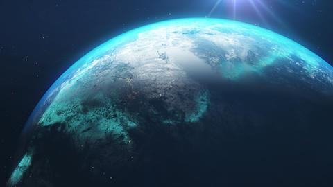 Earth Close Rotation Animation