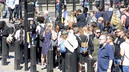 Many people waiting at crosswalk street in London, UK Footage