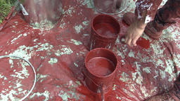 Two Synthetic Red Synthetic Paint Buckets for High Voltage Pole Laying Leading Footage