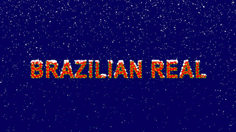 New Year text Currency name BRAZILIAN REAL. Snow falls. Christmas mood, looped Animation