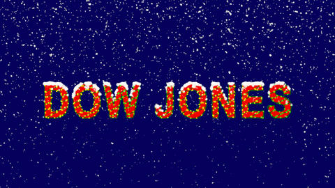 New Year text World stock index DOW JONES. Snow falls. Christmas mood, looped Animation