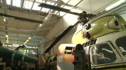 Helicopter in the hangar Stock Video Footage