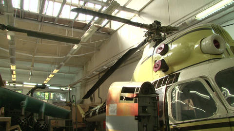 Helicopter in the hangar Footage