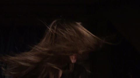Beautiful girl shakes her hair Stock Video Footage