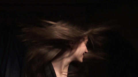 Beautiful girl shakes her hair Footage