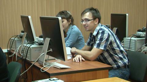 Student at the computer in the lab Footage