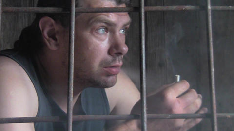 male behind bars Stock Video Footage