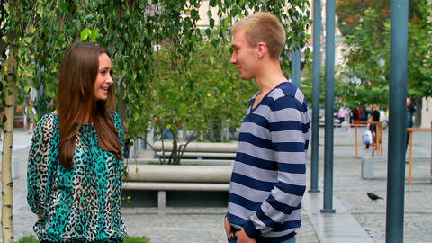 young couple having fun talking Stock Video Footage