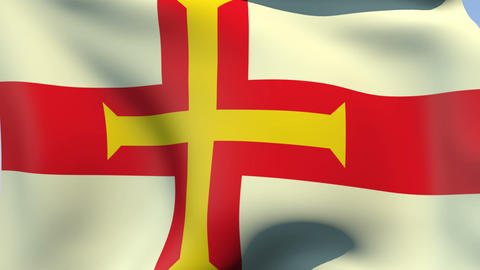Flag of Guernsey Stock Video Footage