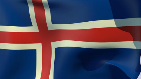 Flag of Iceland Stock Video Footage
