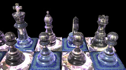 Chess Made From Precious Stone Diamond Marble Figu stock footage