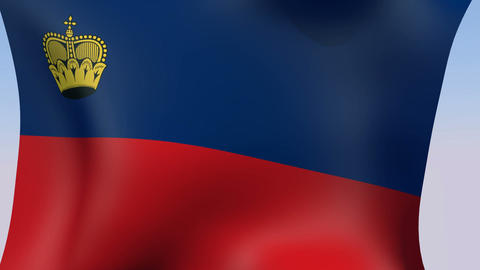 Flag of Liechtenstein Stock Video Footage