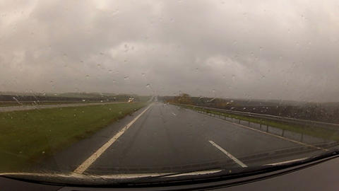 driving a car in the rain Stock Video Footage