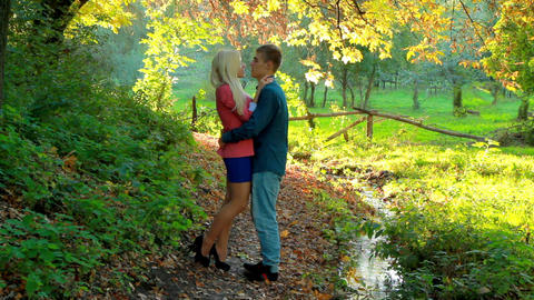 a young couple in the autumn park Stock Video Footage