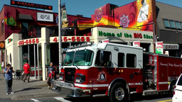 Halifax Nova Scotia New Scotland Canada 067 pizzeria and fire truck in downtown Footage