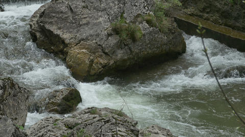 Boulder on Mountain River Footage