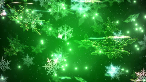 Snowflakes falling over a green backdrop Animation