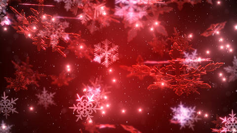 Christmas background with snowflakes and a falling snow with a red backdrop CG動画素材